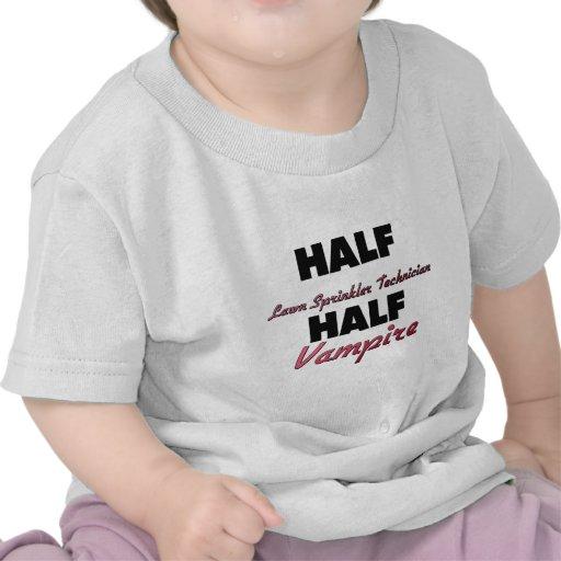 Half Lawn Sprinkler Technician Half Vampire T Shirt