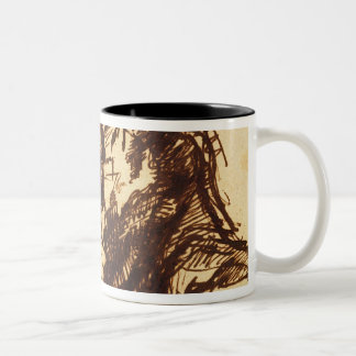 Half length portrait of a man bending over Two-Tone coffee mug