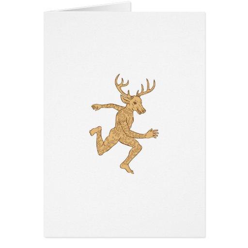 Half Man Half Deer With Tattoos Running Card