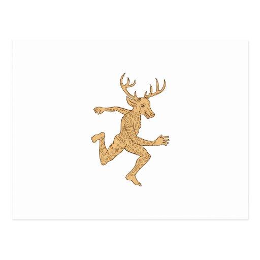 Half Man Half Deer With Tattoos Running Post Card