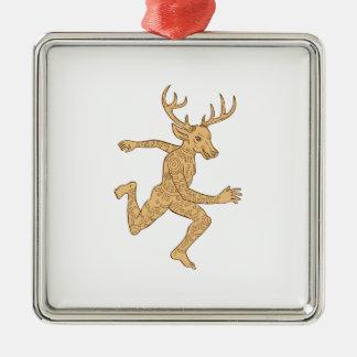 Half Man Half Deer With Tattoos Running Square Metal Christmas Ornament