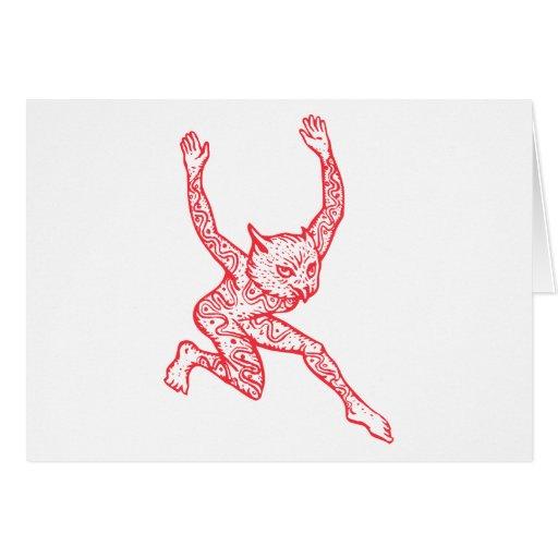 Half Man Half Owl With Tattoos Dancing Greeting Cards