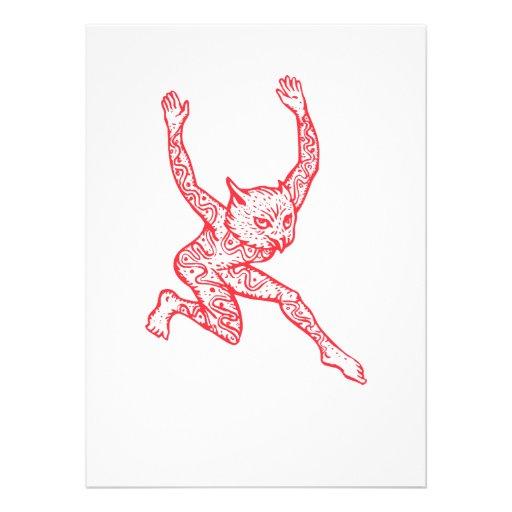 Half Man Half Owl With Tattoos Dancing Custom Invites