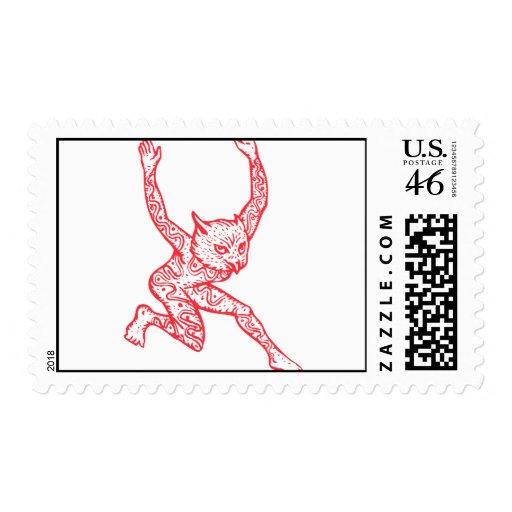 Half Man Half Owl With Tattoos Dancing Postage Stamp