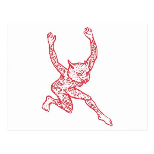 Half Man Half Owl With Tattoos Dancing Postcards