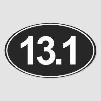 Half Marathon 13.1 Oval Sticker (Black)