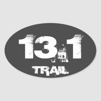 Half Marathon 13.1 Trail Oval Decal White On Black Oval Sticker
