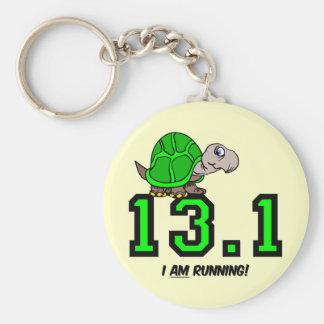 Half marathon basic round button keychain