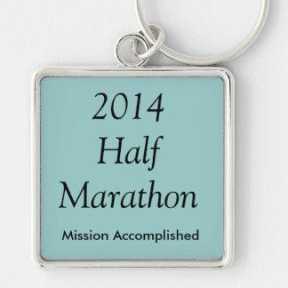 Half Marathon, Mission Accomplished! Silver-Colored Square Keychain