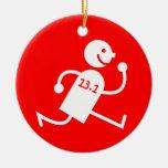 half marathon Double-Sided ceramic round christmas ornament