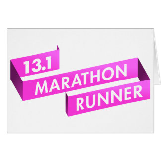 Half Marathon Runner Pink Ribbon Cancer Awareness Greeting Card