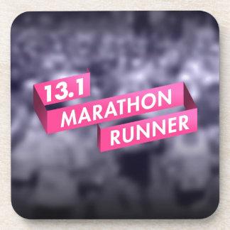 Half Marathon Runner Pink Ribbon Cancer Awareness Drink Coaster