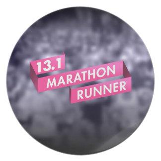Half Marathon Runner Pink Ribbon Cancer Awareness Plate