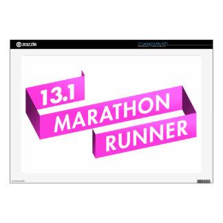 "Half Marathon Runner Pink Ribbon Cancer Awareness Decals For 17"" Laptops"