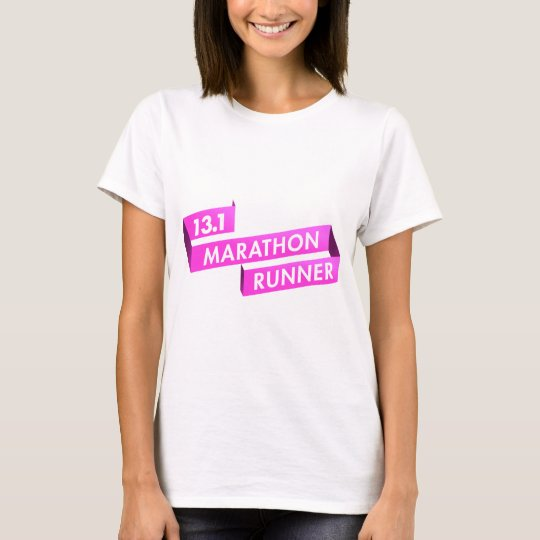 Half Marathon Runner Pink Ribbon Cancer Awareness T-Shirt