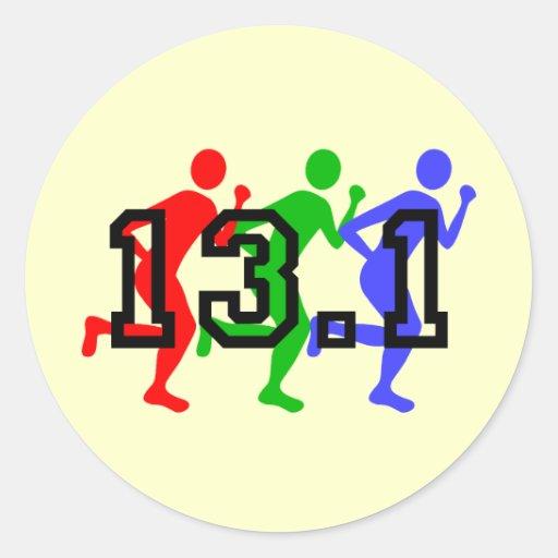 Half marathon running round stickers