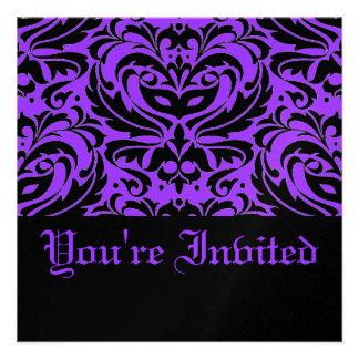 Half Masquerade Purple Halloween Party Invitation