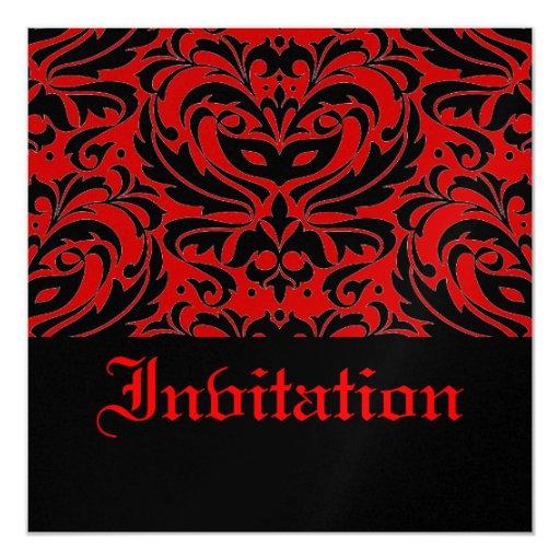 """Half Masquerade Red Halloween Party Invitation 5.25"""" Square Invitation Card"""