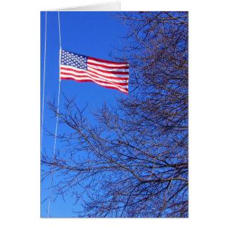half mast flag greeting card