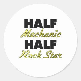 Half Mechanic Half Rock Star Classic Round Sticker