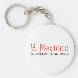Half Mexican Basic Round Button Keychain