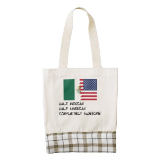 Half Mexican Completely Awesome Zazzle HEART Tote Bag