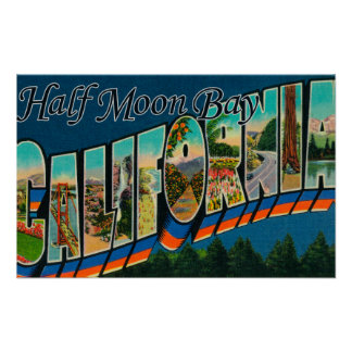 Half Moon Bay, California - Large Letter Scenes Posters