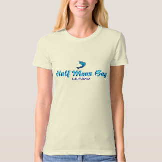 Half Moon Bay, California - with blue fish icon T-Shirt