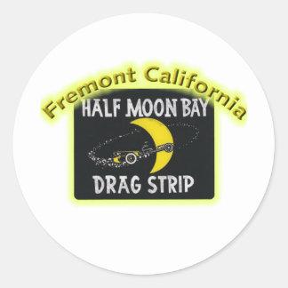 Half Moon Bay Dragstrip Pegatinas Redondas