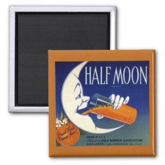 Half Moon Brand Oranges Crate Label 2 Inch Square Magnet