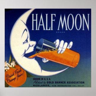 Half Moon Brand Oranges Crate Label Poster