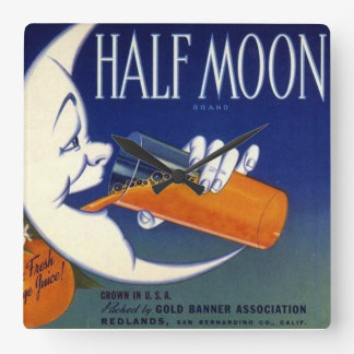 Half Moon Brand Oranges Crate Label Square Wall Clock
