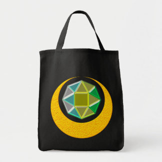 Half-moon jewel crescent in accordance with tote bag