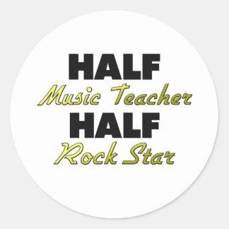 Half Music Teacher Half Rock Star Classic Round Sticker