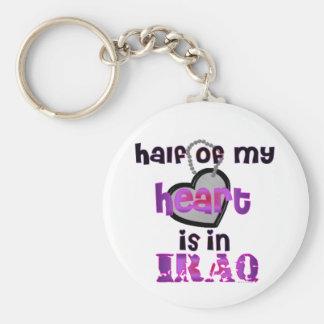 HALF MY HEART IRAQ BASIC ROUND BUTTON KEYCHAIN