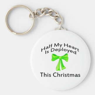 Half My Heart Is Deployed Christmas Key Chain