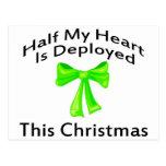 Half My Heart Is Deployed Christmas Postcard