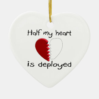 Half My Heart Is Deployed Double-Sided Heart Ceramic Christmas Ornament