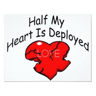 Half My Heart Is Deployed (Heart) 4.25x5.5 Paper Invitation Card