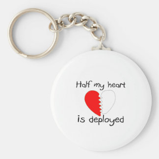 Half My Heart Is Deployed Keychains