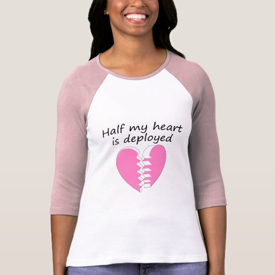 Half My Heart Is Deployed (Pink) T-Shirt