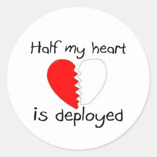 Half My Heart Is Deployed Classic Round Sticker