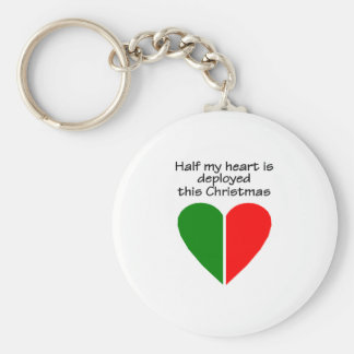 Half My Heart Is Deployed This Christmas Keychain
