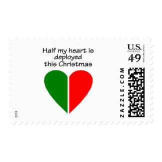 Half My Heart Is Deployed This Christmas Postage