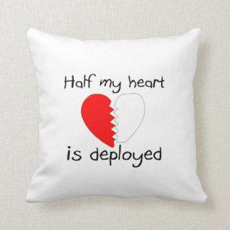 Half My Heart Is Deployed Throw Pillows