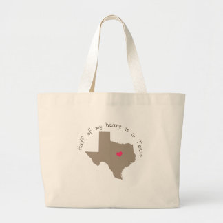 Half My Heart is in Texas Large Tote Bag