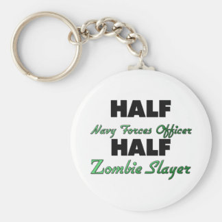 Half Navy Forces Officer Half Zombie Slayer Keychain