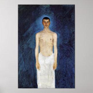 Half-Nude Self-Portrait Against A Blue Background Poster