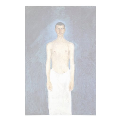 Half-Nude Self-Portrait Against A Blue Background Stationery
