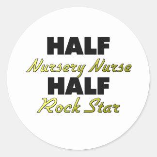Half Nursery Nurse Half Rock Star Round Sticker